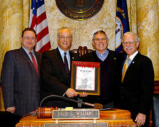 """<div class=""""source""""></div><div class=""""image-desc"""">Senators Jimmy Higdon and Ernie Harris honored Bill Samuels Jr. on his retirement from Maker's Mark Distillery and for Maker's Mark being named """"2011 American Whisky Visitor Attraction of the Year"""" by Whisky Magazine. Pictured are, from left, Higdon, Senate President David L. Williams, Samuels and Harris.</div><div class=""""buy-pic""""></div>"""