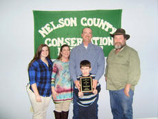 """<div class=""""source"""">Submitted </div><div class=""""image-desc"""">The Nelson County Conservation District 2016 Outstanding Cooperator Award was given to Jacob Miller. Pictured from left are, Brooke Miller, Lee Miller, Kaleb Miller, Jacob Miller and Ricky Humphrey, a member of the Nelson County Conservation District.</div><div class=""""buy-pic""""></div>"""