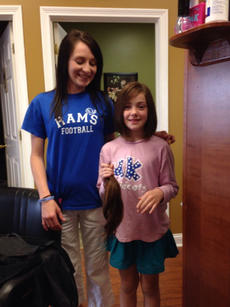"<div class=""source"">Submitted</div><div class=""image-desc"">Kylie Hudson, age 9, donated 11 inches to Locks of Love. Hair dresser Chelsey, from The Hair Gallery, cut her hair.</div><div class=""buy-pic""></div>"