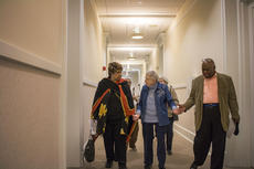 """<div class=""""source"""">KACIE GOODE/The Kentucky Standard</div><div class=""""image-desc"""">Sister Miriam Corcoran, center, leads guests down the hall to the Columba Room Saturday, where a special talk at Nazareth took place as part of an African American History Month Open House.</div><div class=""""buy-pic""""><a href=""""/photo_select/83478"""">Buy this photo</a></div>"""