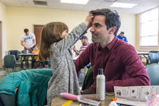 """<div class=""""source"""">KACIE GOODE/The Kentucky Standard</div><div class=""""image-desc"""">The tables turned during a daddy/daughter hair class Wednesday as 4-year-old Joy decided she wanted to fix dad's hair.</div><div class=""""buy-pic""""><a href=""""/photo_select/84181"""">Buy this photo</a></div>"""