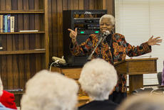 """<div class=""""source"""">KACIE GOODE/The Kentucky Standard</div><div class=""""image-desc"""">Sister Pat Haley sings a spiritual Saturday during a special Black History Month presentation at Nazareth.</div><div class=""""buy-pic""""><a href=""""/photo_select/83482"""">Buy this photo</a></div>"""
