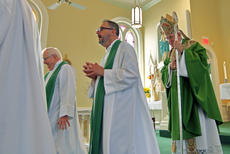 "<div class=""source"">KACIE GOODE/The Kentucky Standard</div><div class=""image-desc"">Archbishop Joseph E. Kurtz, The Rev. John R. Johnson, and other guests take their leave Sunday as the anniversary service for St. Michaels Catholic Parish concludes. The church in Fairfield celebrates 225 years.</div><div class=""buy-pic""><a href=""/photo_select/89747"">Buy this photo</a></div>"