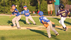 """<div class=""""source"""">Peter W. Zubaty</div><div class=""""image-desc"""">Pool play began last week in Little League All-Star tournaments, with district championships being decided over the weekend in District 2 play around the North Central Kentucky area. Bryce Riley of the 7-year-old Nelson County All-Stars awaits the throw from Kaden Roller to put out a North Oldham baserunner while Landon Hemard backs up the play during a 13-12 Nelson win Tuesday at Dean Watts Park.</div><div class=""""buy-pic""""><a href=""""/photo_select/27999"""">Buy this photo</a></div>"""