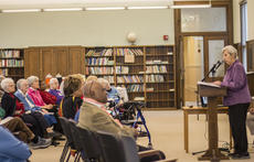 """<div class=""""source"""">KACIE GOODE/The Kentucky Standard</div><div class=""""image-desc"""">Theresa Knabel, SCN, gives a talk on Slave Families of Nazareth Saturday in the Columba Room.</div><div class=""""buy-pic""""><a href=""""/photo_select/83486"""">Buy this photo</a></div>"""