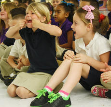 "<div class=""source"">JENNIFER CORBETT/The Kentucky Standard</div><div class=""image-desc"">Kindergarteners Emma Lovelace and Chloe Roggentihe scream as loud as they can during a song. </div><div class=""buy-pic""><a href=""/photo_select/36949"">Buy this photo</a></div>"