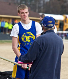 """<div class=""""source"""">Peter W. Zubaty</div><div class=""""image-desc"""">Thomas Newcomb talks strategy with new Bethlehem pole vault coach Jim O'Hare, who has the school taking up the event for the first time.</div><div class=""""buy-pic""""></div>"""