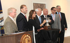 "<div class=""source"">RANDY PATRICK/The Kentucky Standard</div><div class=""image-desc"">Members of the Bardstown Industrial Development Corporation Board and Gov. Steve Beshear pose for pictures with the Governor's Cup Wednesday.</div><div class=""buy-pic""><a href=""/photo_select/66237"">Buy this photo</a></div>"
