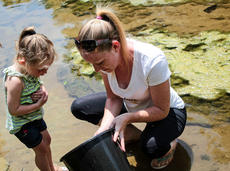 "<div class=""source"">KACIE GOODE/The Kentucky Standard</div><div class=""image-desc"">Summer Hershey points out tadpoles to 3-year-old Kaylei Daugherty Saturday during a Day of Hope at We Survive's Haven of Hope off Highgrove Road in Bloomfield. The two are from Jeffersonville, IN., and participated in a day retreat at the location for homeless families, along with numerous volunteers and pharmacy students.</div><div class=""buy-pic""><a href=""/photo_select/66775"">Buy this photo</a></div>"