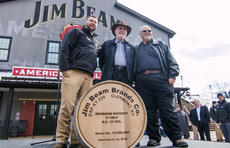 """<div class=""""source"""">KACIE GOODE/The Kentucky Standard</div><div class=""""image-desc"""">The 15 millionth barrel was filled at Jim Beam Monday afternoon. Pictured, eighth-generation Beam Distiller Freddie Noe, former Jim Beam Distiller and relative Baker Beam, seventh-generation Master Distiller Fred Noe.</div><div class=""""buy-pic""""><a href=""""/photo_select/93671"""">Buy this photo</a></div>"""