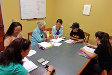 """<div class=""""source"""">KACIE GOODE/The Kentucky Standard</div><div class=""""image-desc"""">Gail Hart, third from left, teaches an English as a second language class at the public library each Wednesday. Junko Nagafuchi, at Hart's left, has been in Bardstown for six months but is making a name for herself across the country in canine agility competitions. </div><div class=""""buy-pic""""><a href=""""/photo_select/87572"""">Buy this photo</a></div>"""