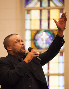 "<div class=""source"">FORREST BERKSHIRE/The Kentucky Standard</div><div class=""image-desc"">The Rev. Gene Livers, of Springfield First Baptist Church, sings with the Bardstown Community Choir during Monday's Martin Luther King Jr. Day celebration at St. Monica Catholic Church in Bardstown.</div><div class=""buy-pic""><a href=""/photo_select/82671"">Buy this photo</a></div>"
