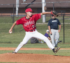 """<div class=""""source"""">PETER W. ZUBATY/The Kentucky Standard</div><div class=""""image-desc"""">Nelson County starter Colin Runner struck out 12 Thomas Nelson batters and permitted just two hits in Monday's 6-0 Cardinal win in opening-round play of the 19th District baseball tournament. The Cardinals face Bethlehem in Tuesday's 7:30 p.m. semifinal.</div><div class=""""buy-pic""""></div>"""