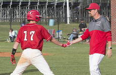 """<div class=""""source"""">PETER W. ZUBATY/The Kentucky Standard</div><div class=""""image-desc"""">Nelson County coach David Sparrow greets Ryan Culver following Culver's RBI triple in the Cardinals' 6-0 win over Thomas Nelson in Monday's 19th District tournament first-round matchup. Culver went 3-for-4 with two doubles and a triple.</div><div class=""""buy-pic""""></div>"""