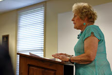 "<div class=""source"">KACIE GOODE/The Kentucky Standard</div><div class=""image-desc"">Patricia Murray Boone voices her concerns Monday night during Bardstown Independent Schools' public tax hearing.</div><div class=""buy-pic""></div>"