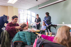 """<div class=""""source"""">KACIE GOODE/The Kentucky Standard</div><div class=""""image-desc"""">Dan Lind works on pigtails while his 4-year-old daughter Joy plays with fellow participant Leona during a Daddy/Daughter Hair Class Wednesday at the Nelson County Public Library.</div><div class=""""buy-pic""""><a href=""""/photo_select/84196"""">Buy this photo</a></div>"""