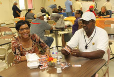 """<div class=""""source"""">RANDY PATRICK/The Kentucky Standard</div><div class=""""image-desc"""">Wallace and Bernadette Stanley play pull tabs Saturday at St. Monica's Fall Festival. </div><div class=""""buy-pic""""><a href=""""/photo_select/89923"""">Buy this photo</a></div>"""
