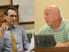 """<div class=""""source"""">FILE PHOTOS</div><div class=""""image-desc"""">Bardstown Human Resources Director Larry Green, left, and Bardstown Mayor John Royalty recently gave depositions in the lawsuit former Bardstown Police Capt. Tom Roby filed against them and the city alleging wrongful termination and defamation related to the April 2016 department reorganization that demoted Roby and his subsequent termination.</div><div class=""""buy-pic""""><a href=""""/photo_select/83149"""">Buy this photo</a></div>"""