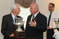 "<div class=""source"">RANDY PATRICK/The Kentucky Standard</div><div class=""image-desc"">Bardstown Mayor John Royalty talks with Gov. Steve Beshear following the presentation of the Governor's Cup for economic development Wednesday.</div><div class=""buy-pic""><a href=""/photo_select/66241"">Buy this photo</a></div>"