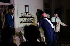 "<div class=""source"">KACIE GOODE/The Kentucky Standard</div><div class=""image-desc"">Vinnie, Zack and Isaac, played by Charlie Beam, Adam Riley and Shane Wiley, perform Irving Berlin's ""Puttin on the Ritz"" during ""Speakeasy Bourbon Style"" Wedneday.</div><div class=""buy-pic""><a href=""/photo_select/89238"">Buy this photo</a></div>"