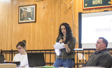 """<div class=""""source"""">KACIE GOODE/The Kentucky Standard</div><div class=""""image-desc"""">Ashley Glass, of John A. Coulter's """"The Private,"""" speaks about the efforts to fund a movie about Fire Base Tomahawk Friday night during a trivia fundraiser event at the American Legion Post 121.</div><div class=""""buy-pic""""><a href=""""/photo_select/83100"""">Buy this photo</a></div>"""