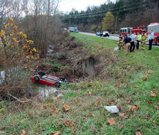 """<div class=""""source"""">TREY CRUMBIE/The Kentucky Standard</div><div class=""""image-desc"""">Nelson County emergency personnel respond to a car exitng the roadway and entering a creek off of New Haven Road late Tuesday morning. On initial police accounts, no one appeared to be hurt. New Haven Road was closed for a short period of time.</div><div class=""""buy-pic""""><a href=""""/photo_select/70943"""">Buy this photo</a></div>"""