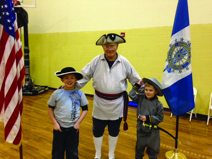 On Monday, March 10, Nelson County's Children of the Revolution Cox's Station Daughters of the American Revolution and Gov. Isaac Shelby Sons of the Revolution met for a joint meeting. From left, Samuel Brothers, Charlie Scott and Lucas Brothers.