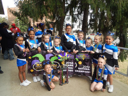 Nelson Elite Mini Prep team won the National Champions competing against five teams at a Nashville competition.  They were also awarded Grand Champions over all the prep divisions.  Nelson Elite Junior Prep team won National Champions competing against two other teams.  Nelson Elite is accepting new members.  Contact Jennifer at info@nelsonelite.net for more information. Pictured is Nelson Elite Mini Prep. Kneeling, left to right: Adrionna Livers, Laken Lucas. Standing: Terris Miller, Kyanna Aydelott, Gracee Saunders, Madison Hemard, Dakota Hocker, Maddie Riggs, Trinity Mattingly, Angel Williams, Jazzy Watkins.  Not pictured are coaches Samantha Riggs, Shelby Culver and Jessie Downs.