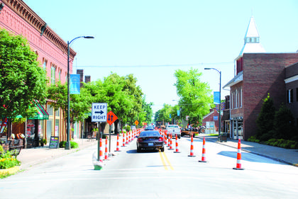 MAY 2010: Traffic is restricted to one lane on North Third Street approaching Broadway Avenue while crews prepare to lay new water line. After the water line is completed, construction on the Streetscape project will begin. (Published May 26, 2010.)