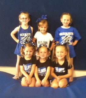 Nelson Elite Tiny cheer team for 2013-14: Front row: Bailey Hopper, Laken Lucas, Kylee Best. Back row: Marliana Edlin, Madison Hemard, Miley Parks. Not pictured: Trinity Mattingly.