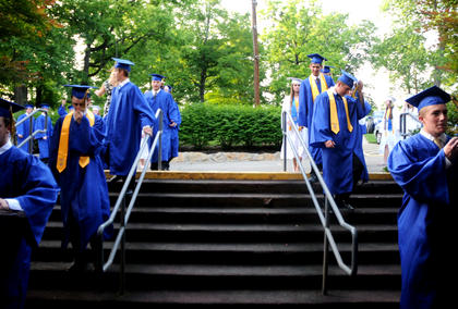 Graduates from the Bethlehem class of 2011 proceed to the commencement ceremony at the J. Dan Talbot Ampitheatre.