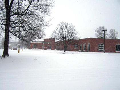 The Nelson County Public Library could be seen in the snow around 9 a.m. on Feb. 16.