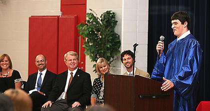 Jake Cecil spoke words of thanks for Horizons at the graduation.