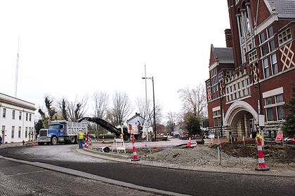 NOVEMBER 2010: Construction crews milled the circle around Bardstown's Old Courthouse Thursday, along with North Third Street from the circle through the Broadway intersection. They were unable to lay new asphalt, however, as the weather was not warmer than 45 degrees Fahrenheit. (Published Nov. 19, 2010.)