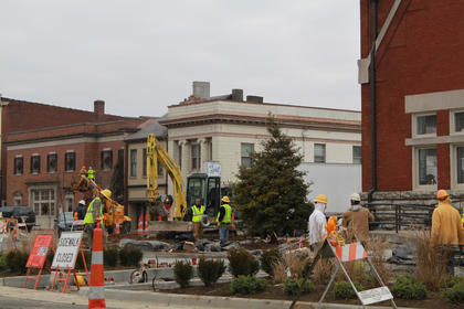 DECEMBER 2010: Construction workers plant trees around the Old Courthouse in downtown Bardstown. (Dec. 26, 2010.)
