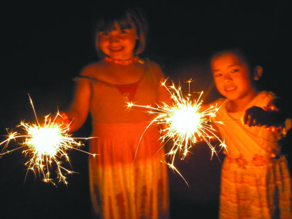 Holly Schwartz, Bardstown, took this photo of Kate Simpson (left) and Margaret Schwartz (right) with sparklers in her backyard in the Creek Chase subdivision.