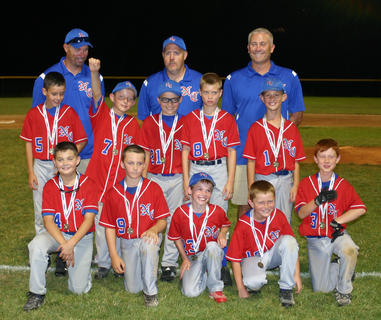 The Nelson County U9 All-Stars were undefeated during pool and tourney play for the 2012 season, and are back to back District 2 champs. Pictured are team members (front) Ethan Davis, Will Koger, Jeb Bradley, Lucas Bendock, Adam Hood, (middle) Trey Settles, Barrett McGill, Sam Floyd, Gray Clark and Brady Clark. Coaches (back) were David Clark, Todd Hood and Glenn Koger. Coach Jason Floyd is not pictured.