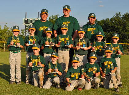 The A's were the 2012 tournament champions for the Nelson County Little League's machine-pitch division at Dean Watts Park. The team was second in the division in the regular season, dropping three games by a combined three runs, before winning the tournament. Team members include (front) Lincoln Boone, Austin McDill, Jordan Bryan, Hunter Bryan, Gavin Bartley, (middle) Ryan Hack, Lawson Strenecky, J.T. Mattingly, Bryce Riley, Trace Culler, Barrett Riley, Chase Girdley and (back) coaches Linwood Strenecky, Reece Riley and Brandon Riley.
