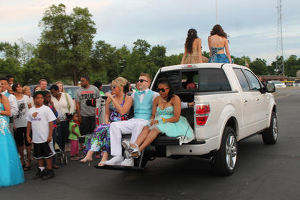Pickup trucks were a popular choice for transporting Bardstown High School students to the prom.