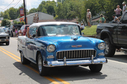 Classic cars like this 1950s Chevy were featured in the parade.