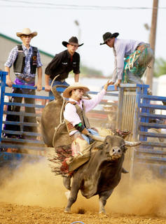 Austin Sweeney, of Mt. Washington, holds tight during the bull-riding competition Tuesday at the Nelson County Fair.