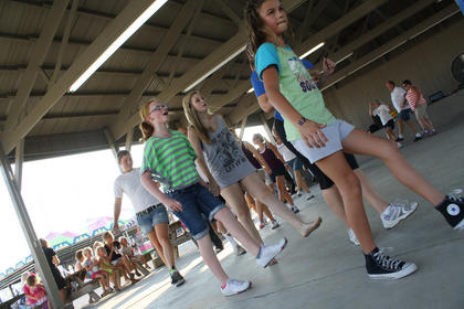 Fairgoers participate in clogging at the Nelson County Fair this week.