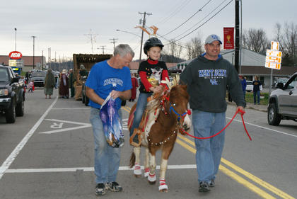 "Kendall Corbin rode her pony ""Boogers"" in the parade."