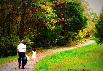 Images of Bernheim in October. Todd Schwartz and Margaret Schwartz are the people walking on the path.