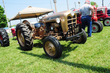 Various types and ages of tractors showed up May 19 at the Nelson County Fairgrounds for the Tractor Show, including this gold tractor.