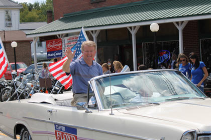 State Rep. David Floyd, R-Bardstown, rides in the Iron Horse Festival parade.