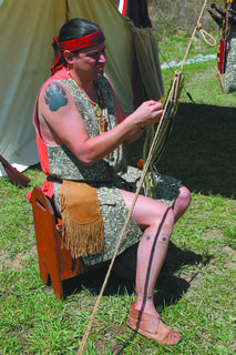 Jesse De Esch, who portrays a Delaware Indian making a belt, is part Delaware himself.