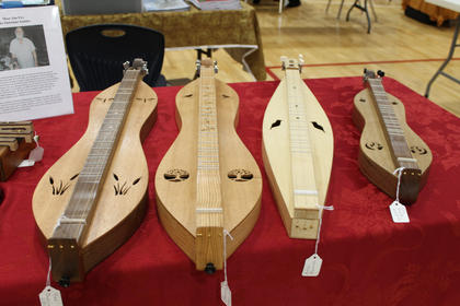 Handcrafted dulcimers are available for sale at the Kentucky Music Week event at Nelson County High School.