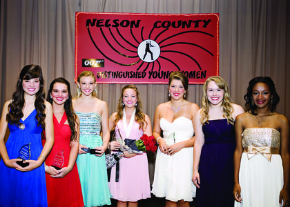 The contestants of the 2013 Nelson County Distinguished Young Women competition. From left: Maggie Finn, Erin Newton, Haley Shrewsbury, winner Madlyn Beasley, JoEllyn Medley, Lindsey Astrom and Anna Villarreal.