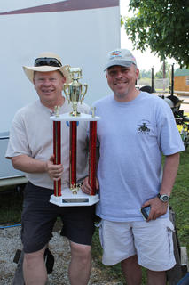 Rich Kindred and Chuck Durr, two Army pilots from Fort Knox competing at the Flying Tigers team, won first place for best brisket in the backyard competition.